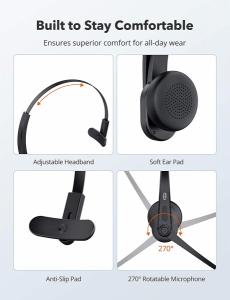 Casti call center cu bluetooth, TaoTronics TT-BH04, Microfon, AI Noise Cancelling, functionare 34 ore5