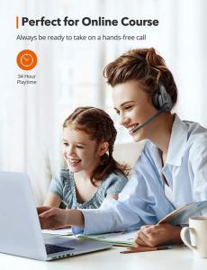 Casti call center cu bluetooth, TaoTronics TT-BH04, Microfon, AI Noise Cancelling, functionare 34 ore2