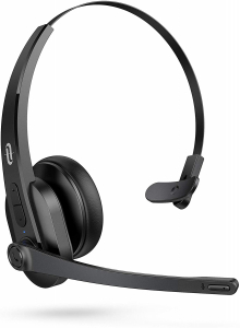 Casti call center cu bluetooth, TaoTronics TT-BH04, Microfon, AI Noise Cancelling, functionare 34 ore0