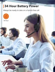 Casti call center cu bluetooth, TaoTronics TT-BH04, Microfon, AI Noise Cancelling, functionare 34 ore1