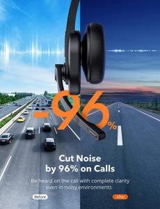 Casti call center cu bluetooth, TaoTronics TT-BH04, Microfon, AI Noise Cancelling, functionare 34 ore8