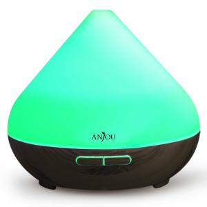Difuzor aroma cu Ultrasunete Anjou AJ-AD001, 300ml, 13W, LED 7 culori, oprire automata0