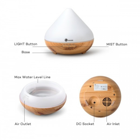 Difuzor aroma cu Ultrasunete TaoTronics TT-AD002, 300ml, 13W, LED 7 culori, oprire automata - Nuc natur7