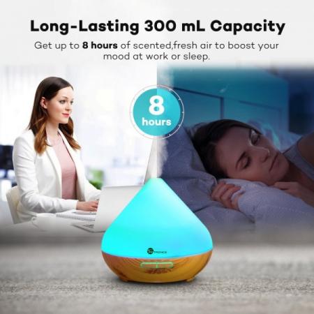 Difuzor aroma cu Ultrasunete TaoTronics TT-AD002, 300ml, 13W, LED 7 culori, oprire automata - Nuc natur8