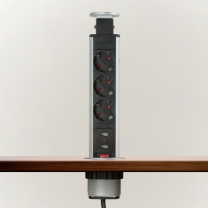 Distribuitor 3 prize camuflat în mobilier, USB- metalizat-satinat1
