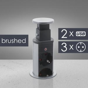 Distribuitor 3 prize camuflat în mobilier, USB- metalizat-satinat0