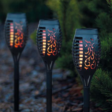 Garden of Eden - Lampă solară LED, model imitaţie de flacără - negru - material plastic- 480 x 75 mm1