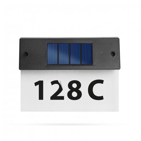 Număr de casă solar, cu LED alb rece plexiglas transparent 18 x 20 cm - Garden Of Eden [0]
