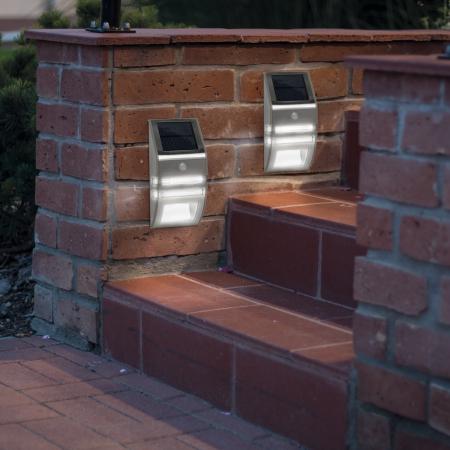 Lampă solară LED - cu senzor de mişcare - alb rece - 170 x 78 mm2