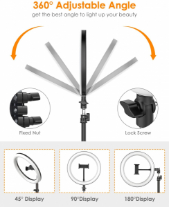Lampa foto circulara LED BlitzWof BW-SL2 Make up Profesionala, Ring Light 120 Leduri cu Lumina Rece Calda6