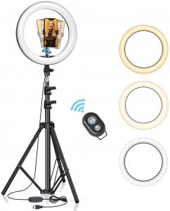 Lampa foto circulara LED BlitzWof BW-SL2 Make up Profesionala, Ring Light 120 Leduri cu Lumina Rece Calda0