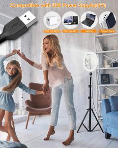 Lampa foto circulara LED BlitzWof BW-SL2 Make up Profesionala, Ring Light 120 Leduri cu Lumina Rece Calda3