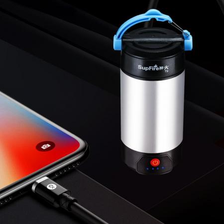 Lanterna LED SupFire T9, Pentru Camping, 800 lm, incarcare USB, PowerBank [3]