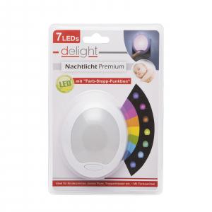 "Lumina de veghe LED cu colori alternante Premium ""Smooth"" - 7 LED, 8x10cm3"