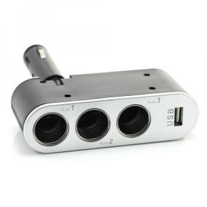 CARGUARD - Priză triplă pentru brichetă auto + USB 1A0