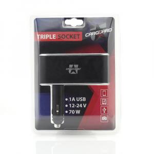 CARGUARD - Priză triplă pentru brichetă auto + USB 1A5