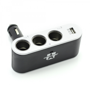 CARGUARD - Priză triplă pentru brichetă auto + USB 1A3