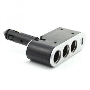 CARGUARD - Priză triplă pentru brichetă auto + USB 1A1