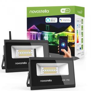 Set 2 lampi de podea LED RGB Novostela, Smart, Wifi, Alexa,Google , 20W, Exterior IP66 waterproof0