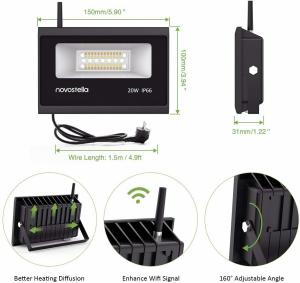 Set 2 lampi de podea LED RGB Novostela, Smart, Wifi, Alexa,Google , 20W, Exterior IP66 waterproof5