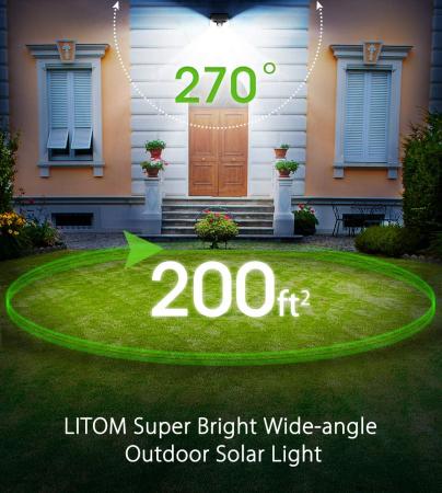Set 4 lampi solare LITOM LTCD179, LED, 30 leduri, incarcare solara si senzor de miscare [3]