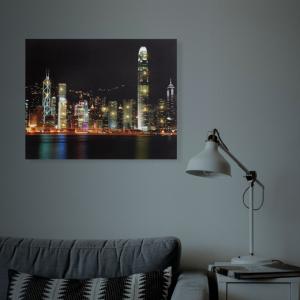 "Tablou cu LED - ""Hong Kong"" - 2 x AA, 38 x 48 cm1"
