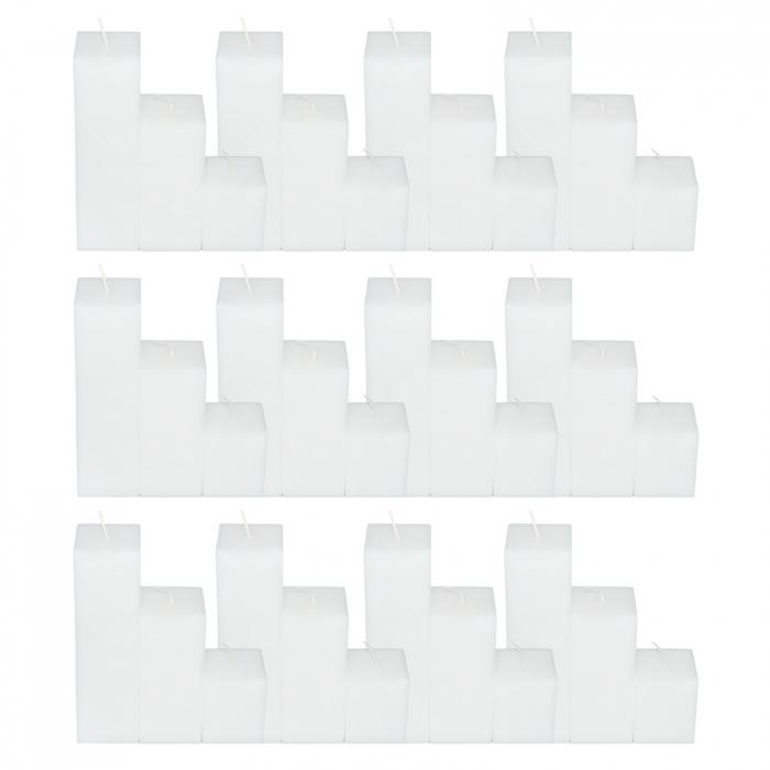 12 Seturi de 3 Lumanari albe Patrate H21,H14,H7cm [0]