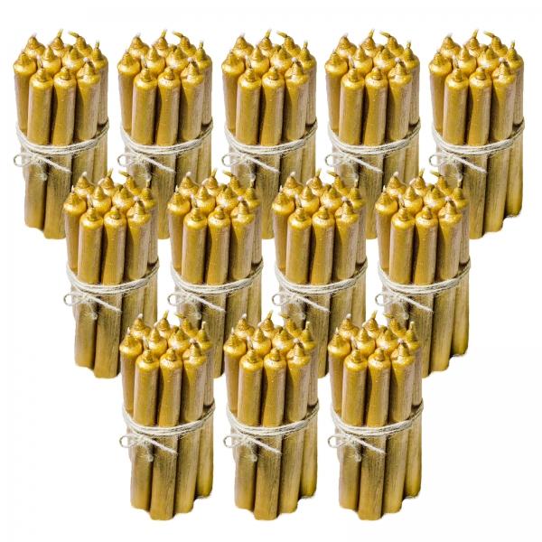 12 Seturi Lumanari Aurii de 10 buc, drepte 2,2*22cm 0