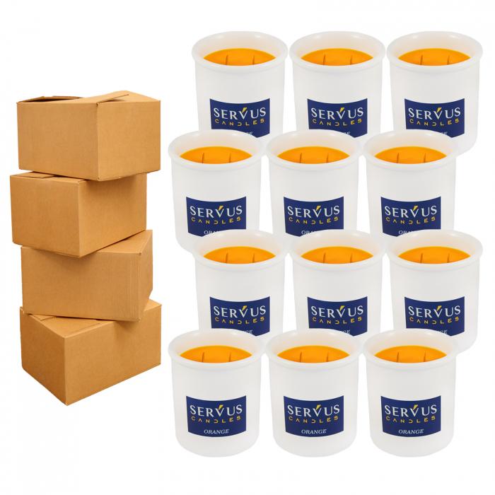 48 Lumanari Parfumate Orange cu 2 fitiluri din lemn 0