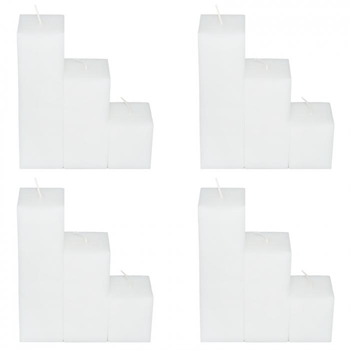 4 Seturi de 3 Lumanari albe Patrate H21,H14,H7cm 1