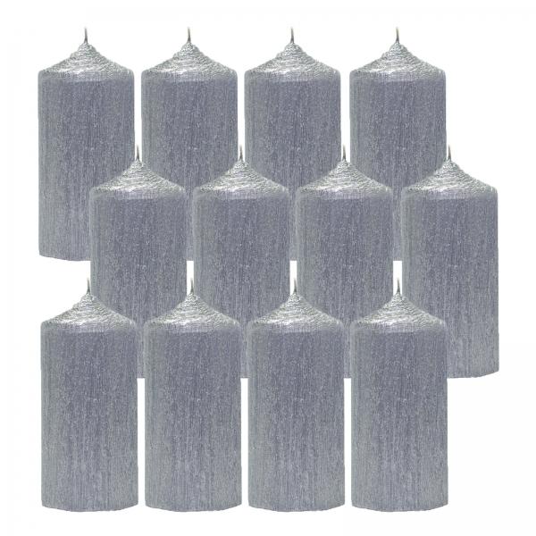 Bax 12 Lumanari Argintii cilindru 13cm 1