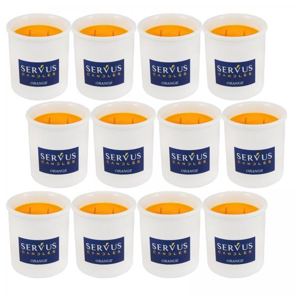 Bax 12 Lumanari Parfumate Orange cu 2 fitiluri din lemn 1