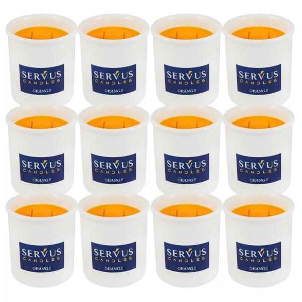Bax 12 Lumanari Parfumate Orange cu 2 fitiluri din lemn 0
