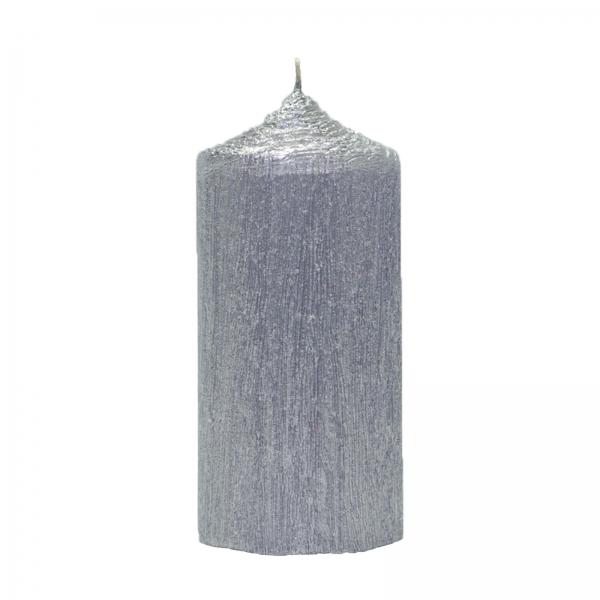 Set 4 Lumanari Argintii cilindru 13cm 2