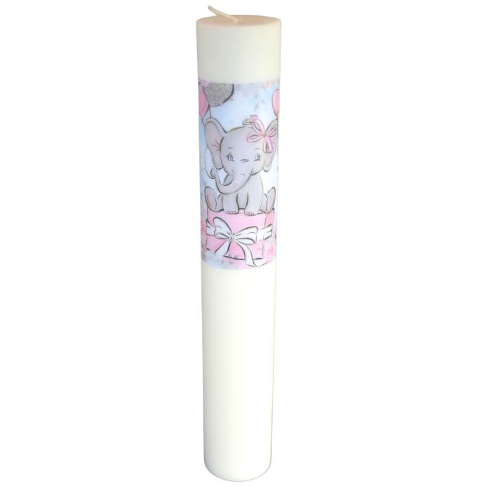 Lumanare Botez Elefant H40cm D5,5cm [0]