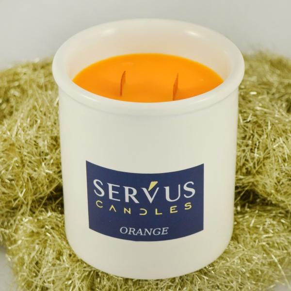 Lumanare Parfumata Orange cu 2 fitiluri din lemn 2