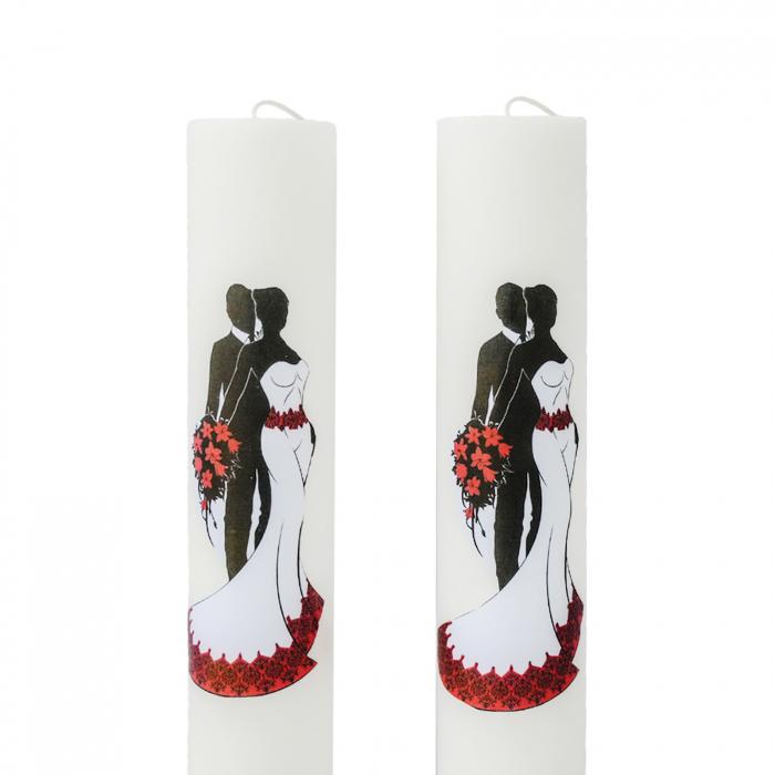 Set 2 Lumanari Nunta Mire si Mireasa cu rosu H60cm D5,5cm 1