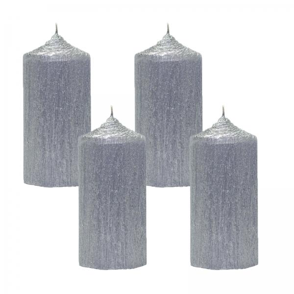 Set 4 Lumanari Argintii cilindru 13cm 1