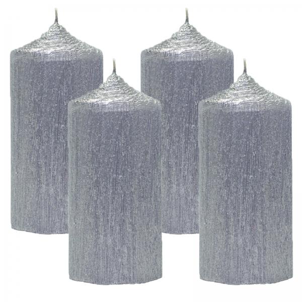 Set 4 Lumanari Argintii cilindru 13cm 0