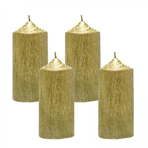 Set 4 Lumanari Aurii cilindru 13cm 1