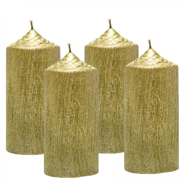 Set 4 Lumanari Aurii cilindru 13cm 0