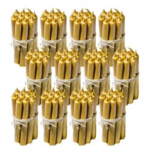 12 Seturi Lumanari Aurii de 10 buc, drepte 2,2*22cm1