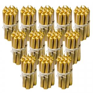 12 Seturi Lumanari Aurii de 10 buc, drepte 2,2*22cm0