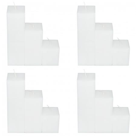 4 Seturi de 3 Lumanari albe Patrate H21,H14,H7cm1