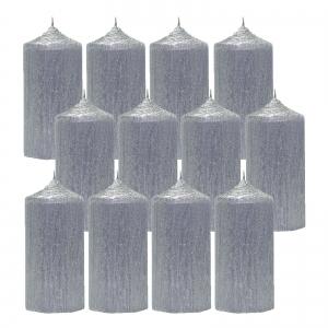 Bax 12 Lumanari Argintii cilindru 13cm1