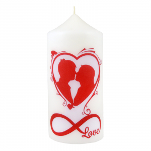 Bax 12 Lumanari cilindru albe model Love 13 cm2