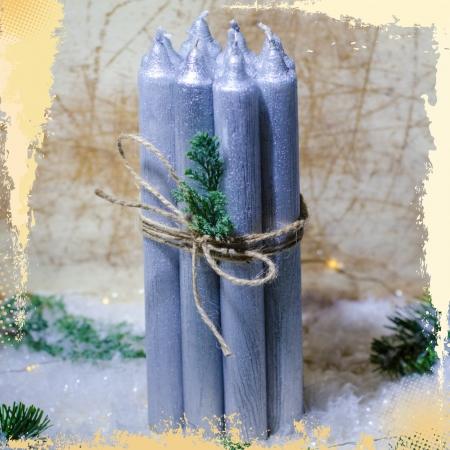 Set 10 Lumanari Argintii, drepte 2,2*22 cm2