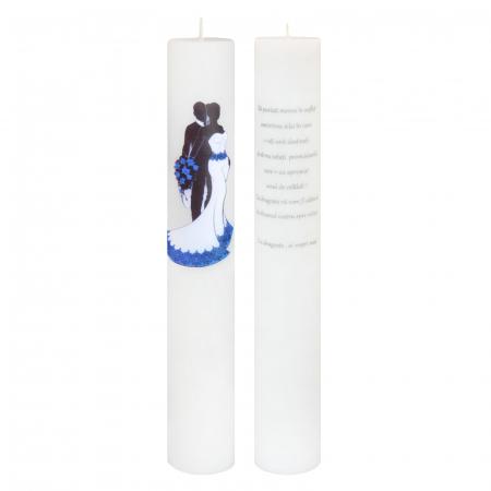 Set 2 Lumanari Mire-Mireasa cu albastru cu mesaj de la nasi H40cm D5,5cm [0]