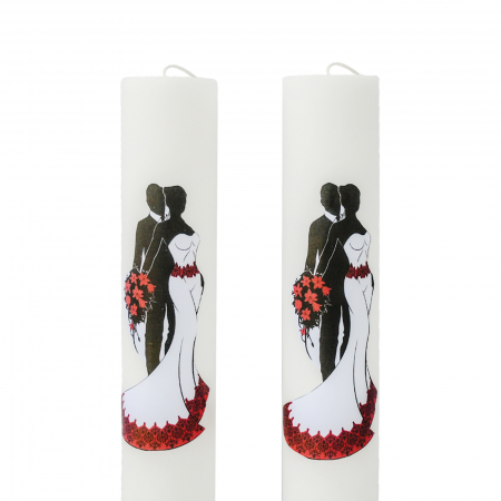 Set 2 Lumanari Nunta Mire si Mireasa cu rosu H60cm D5,5cm [1]