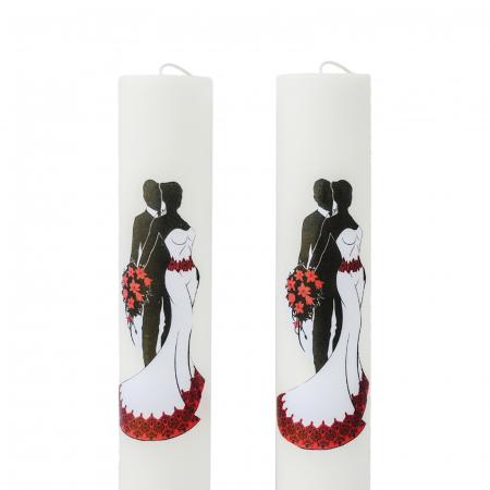 Set 2 Lumanari Nunta Mire si Mireasa cu rosu H60cm D5,5cm [3]